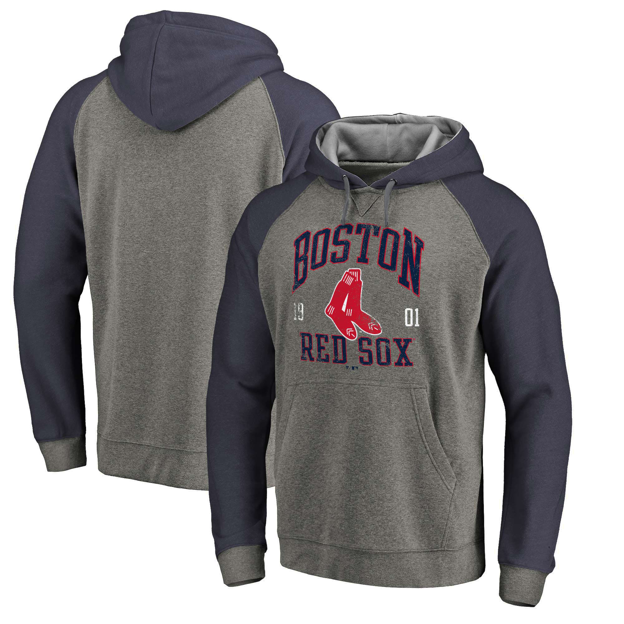 Boston Red Sox Fanatics Branded Cooperstown Collection Old Favorite Tri-Blend Pullover Hoodie - Heathered Gray/Navy