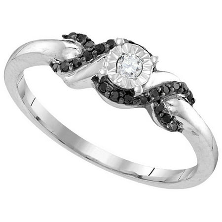 Size - 7 - Solid 925 Sterling Silver Round White And Black Diamond Engagement Ring OR Fashion Band Prong Set Solitaire Shaped CrossOver Ring (.15 cttw)
