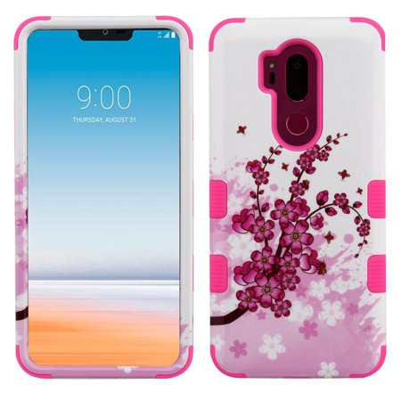 Insten Tuff Spring Flowers Dual Layer [Shock Absorbing] Hybrid Hard Plastic/Soft TPU Rubber Case Cover For LG G7 ThinQ, Pink/White