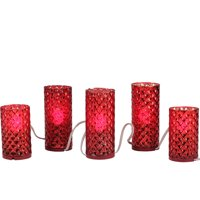 Raz Imports 5ct Diamond Faceted Mercury Glass Flameless Pillar Candle Christmas Lights Clear - 3.1' White Wire