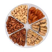 Holiday Fruit and Nuts Gift Basket,Gourmet Food Gift,Healthy Fresh Gift Idea For Christmas, Thanksgiving, Mothers , Fathers Day, And Birthday(6 Cell Mix Nuts)