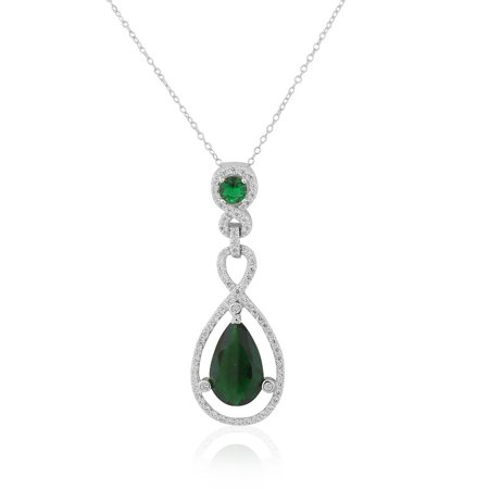925 Sterling Silver Green Emerald-Tone CZ Teardrop Large Statement Pendant Necklace, 18