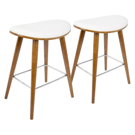 Fine Saddle 26 Mid Century Modern Counter Stool In Walnut And White Faux Leather By Lumisource Set Of 2 Squirreltailoven Fun Painted Chair Ideas Images Squirreltailovenorg