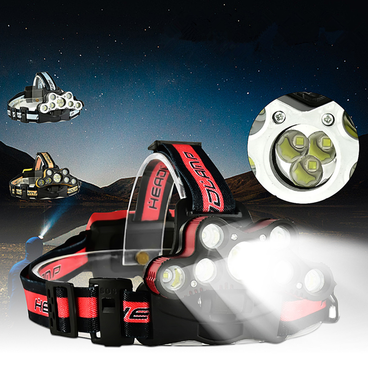 6000Lumens 9xT6 LED Waterproof Zoomable Headlight Headlamp Rechargeable USB with SOS Help Whistle 6Modes For Camping Hiking