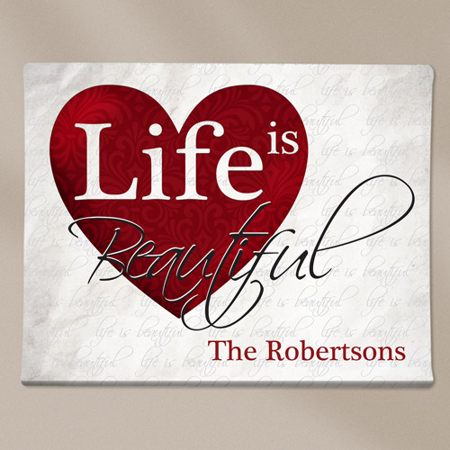 Personalized Life Is Beautiful Canvas