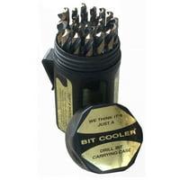 """29 Piece Cobalt Drill Bit Set in Round Plastic Case, Sizes 1/16"""" - 1/2"""" x 64ths"""