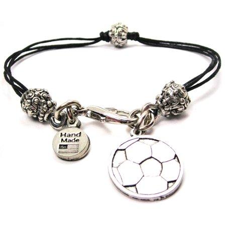 Engraved Soccer Ball Pewter Beaded Black Waxed Cord Bracelet