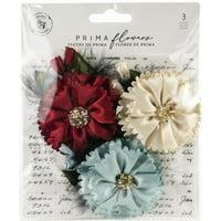 Prima Marketing Midnight Garden Fabric Flowers 3/Pkg-Midnight Elegance