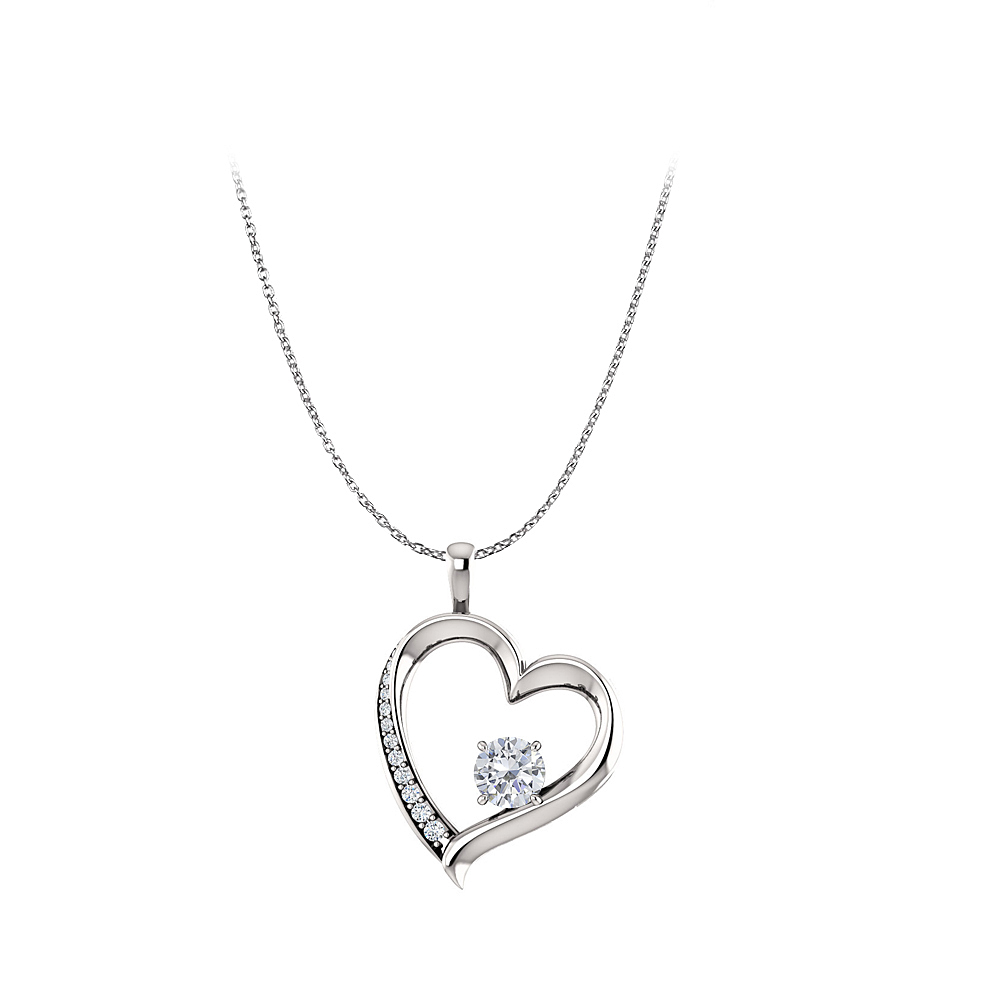 Cubic Zirconia Heart Design Pendant in 14K White Gold - image 2 of 2