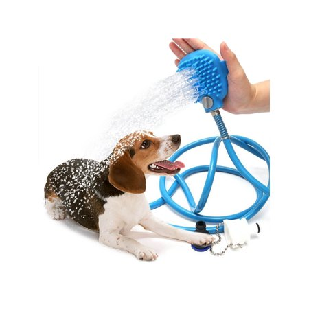 Pet Bathing/Grooming Tool - Scrubbing Shower Head Attachment For Dogs, Horses, Other Animals - Indoor Faucet, Shower, and Garden Hose Compatible