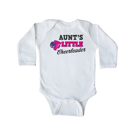 Aunt's Little Cheerleader with Megaphone and Pom Poms Long Sleeve Creeper for $<!---->