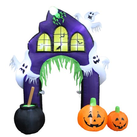 The Holiday Aisle Halloween Inflatable Castle Arch with Pumpkin and Ghost