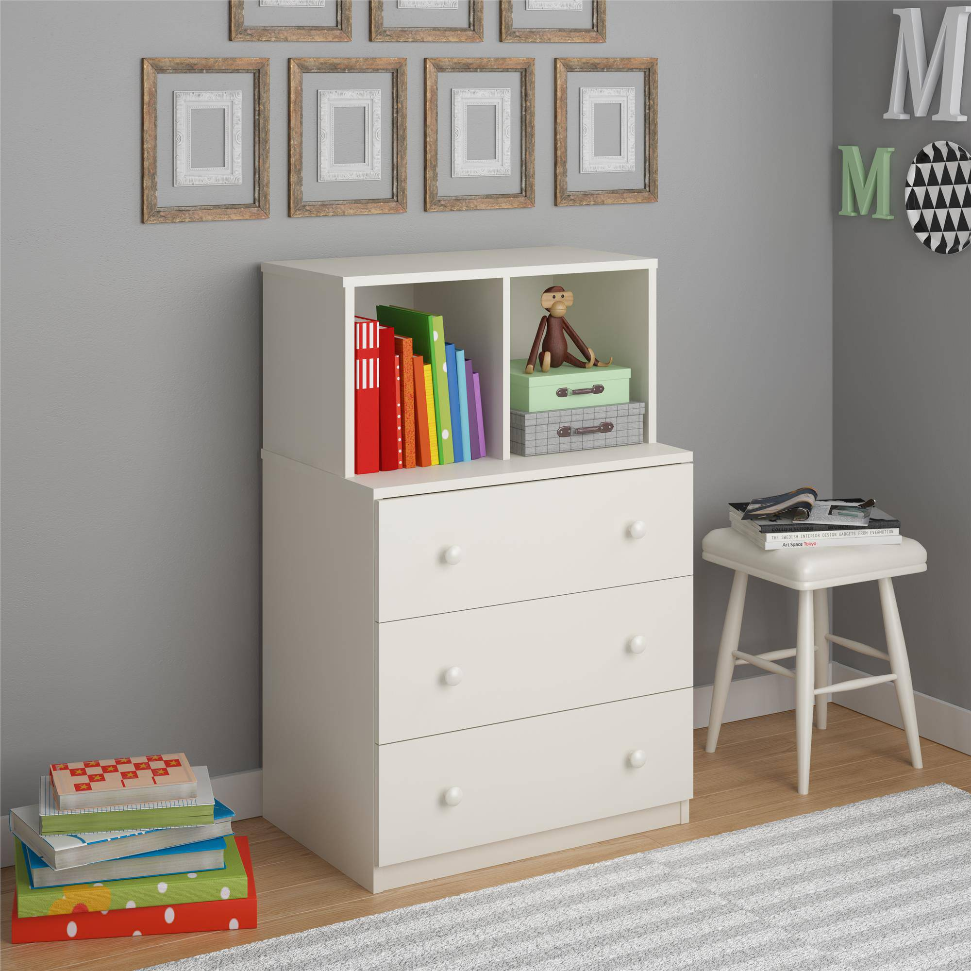 Skyler Kids' Dresser with Cubbies by Altra, White Stipple