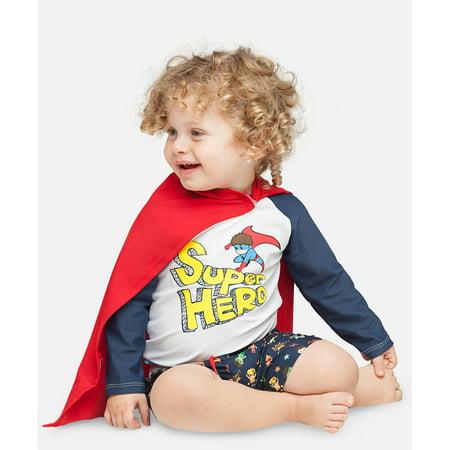 Boys Super Hero UV Rash Vest + UV detachable cape - Superhero Outfit Creator