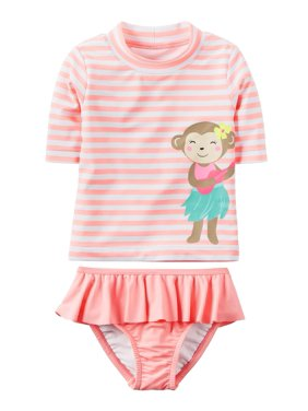 c5bc5804d82dc Product Image Carter s Baby Girls  Striped Monkey Rashguard Set