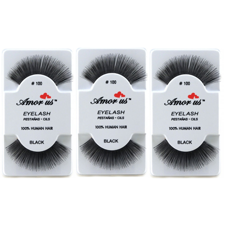 LWS LA Wholesale Store  3 Pairs AmorUs 100% Human Hair False Long Eyelashes # 100 compare Red Cherry - Longs Wholesale
