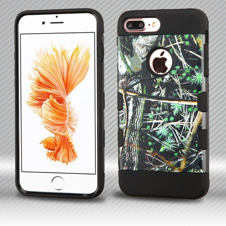 Insten Cedar Tree Hard Plastic/Soft TPU Rubber Case Cover for Apple iPhone 7 Plus, Green/Black