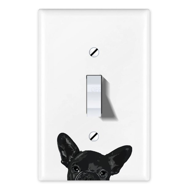 Wirester 1 Gang Toggle Light Switch Wall Plate Switch Plate Cover Animal French Bulldog Puppy Dog Black Walmart Com Walmart Com