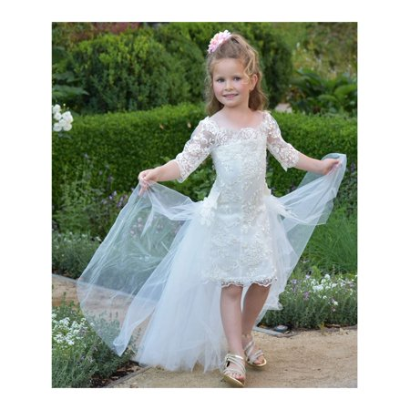 2817fdddacc15 TriumphDress - Triumph Dress Little Girls Ivory Lace Train Florine Flower  Girl Dress 4/5 - Walmart.com
