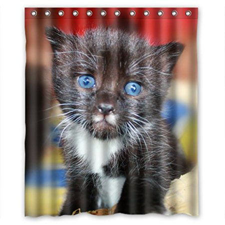 XDDJA Back Kitten With Big Blue Eyes So Lovely Shower Curtain Waterproof Polyester Fabric Shower Curtain Size 60x72 inches - image 1 de 1