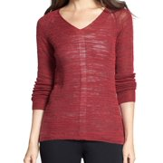 Eileen Fisher NEW Red Women's Size Large PL Petite High-Low V-Neck Sweater
