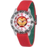 Emoji Kids' Iron Man Clear Plastic Time Teacher Watch, Reversible Red and Green Elastic Nylon Strap