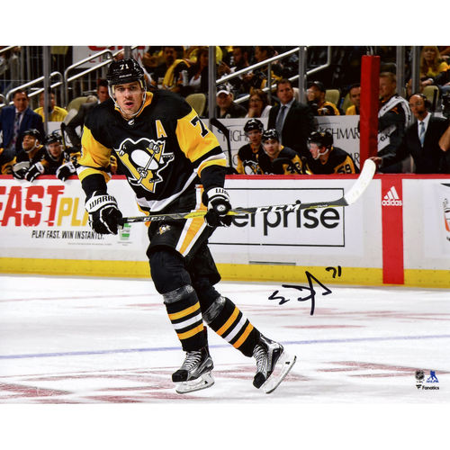 "Evgeni Malkin Pittsburgh Penguins Autographed 8"" x 10"" Black Jersey Skating Photograph No Size by Fanatics Authentic"