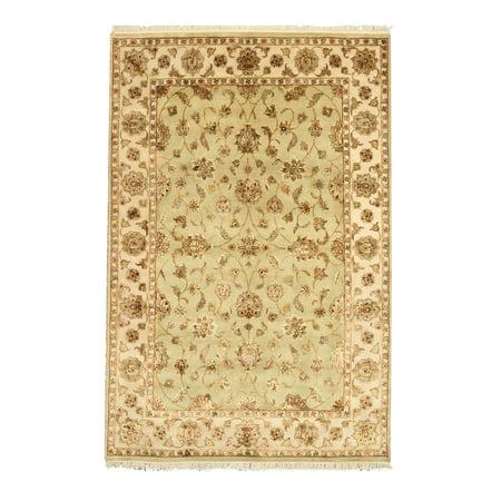 Jaipur Green - Hand-knotted Wool & Silk Green Traditional Oriental Flower Jaipur Rug