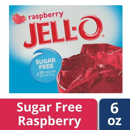 (3 Pack) Jell-O Raspberry Sugar Free Gelatin Mix, 0.6 oz - Gelatin Free Jello