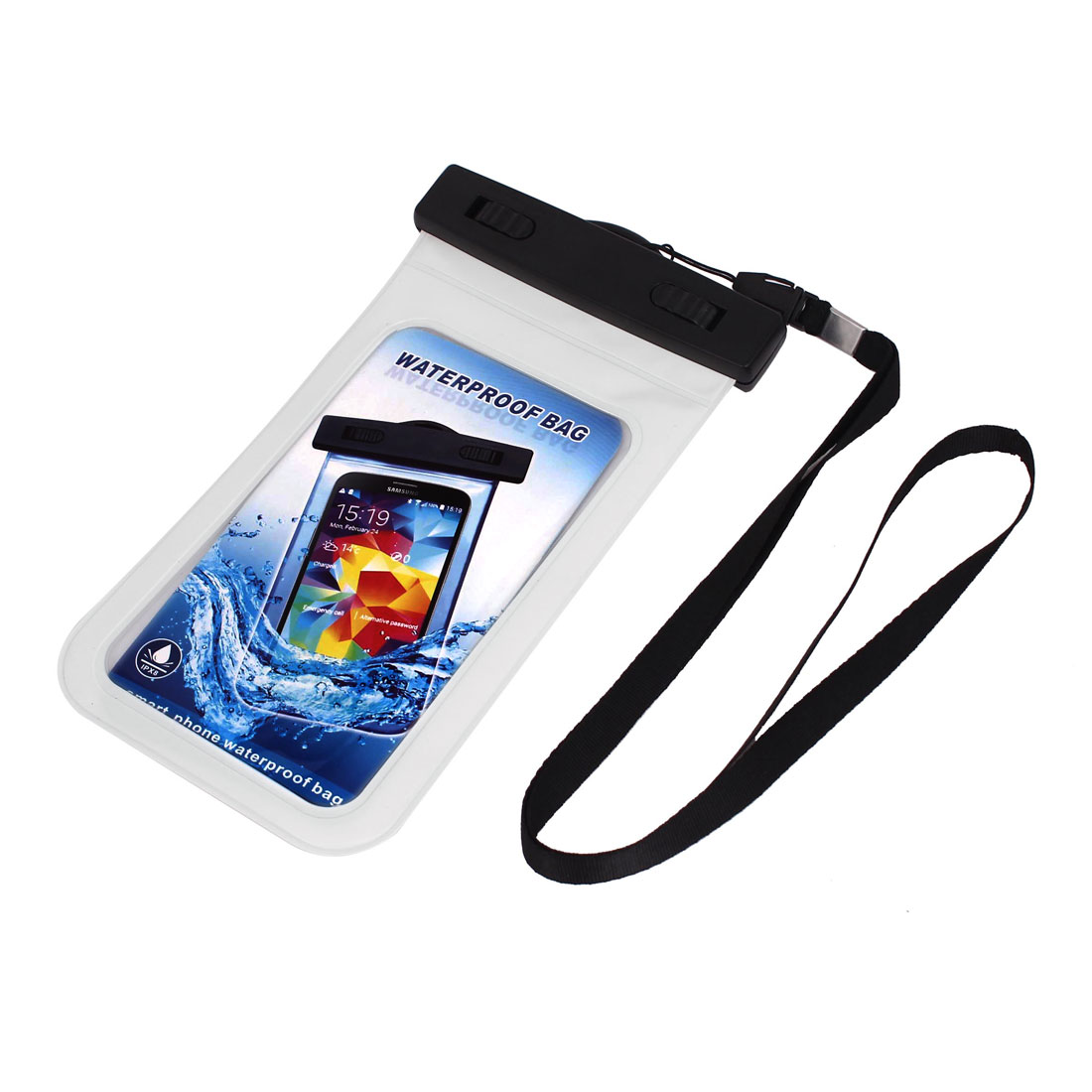 "Unique Bargains Waterproof Bag Holder Pouch White for 5.5"" Mobile Phone w Neck Strap"