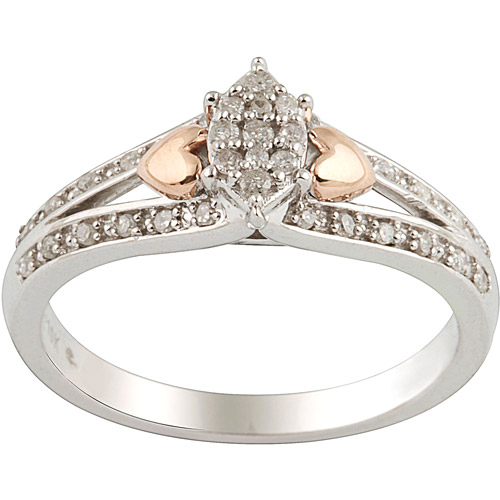 1 6 carat t w sterling silver and 10kt pink gold