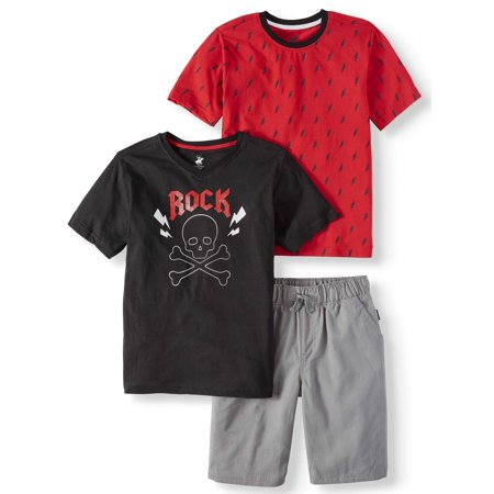 Short Sleeve Skull Tee, Lightning Tee, and Pull on Short Set, 3-Piece Outfit Set (Little Boys & Big Boys)