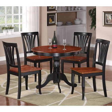 East West Furniture 5 Piece Round Black And Cherry Kitchen Table Set