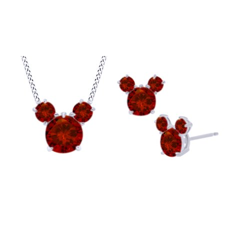 Round Cut Simulated Red Garnet Micky Mouse Jewelry Set In 14K White Gold Over Sterling Silver