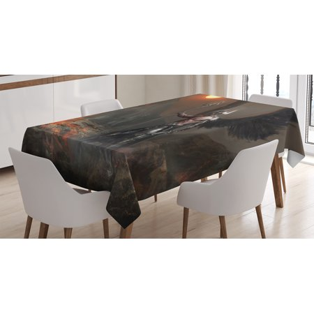 Fantasy World Decor Tablecloth, Knight with Wings Feathers Angel Devil Full Moon Fire Fantasy Night, Rectangular Table Cover for Dining Room Kitchen, 52 X 70 Inches, Brown Yellow, by - Devil And Angel Wings