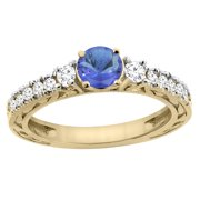 14K Yellow Gold Natural Tanzanite Round 6mm Engraved Engagement Ring Diamond Accents, size 7