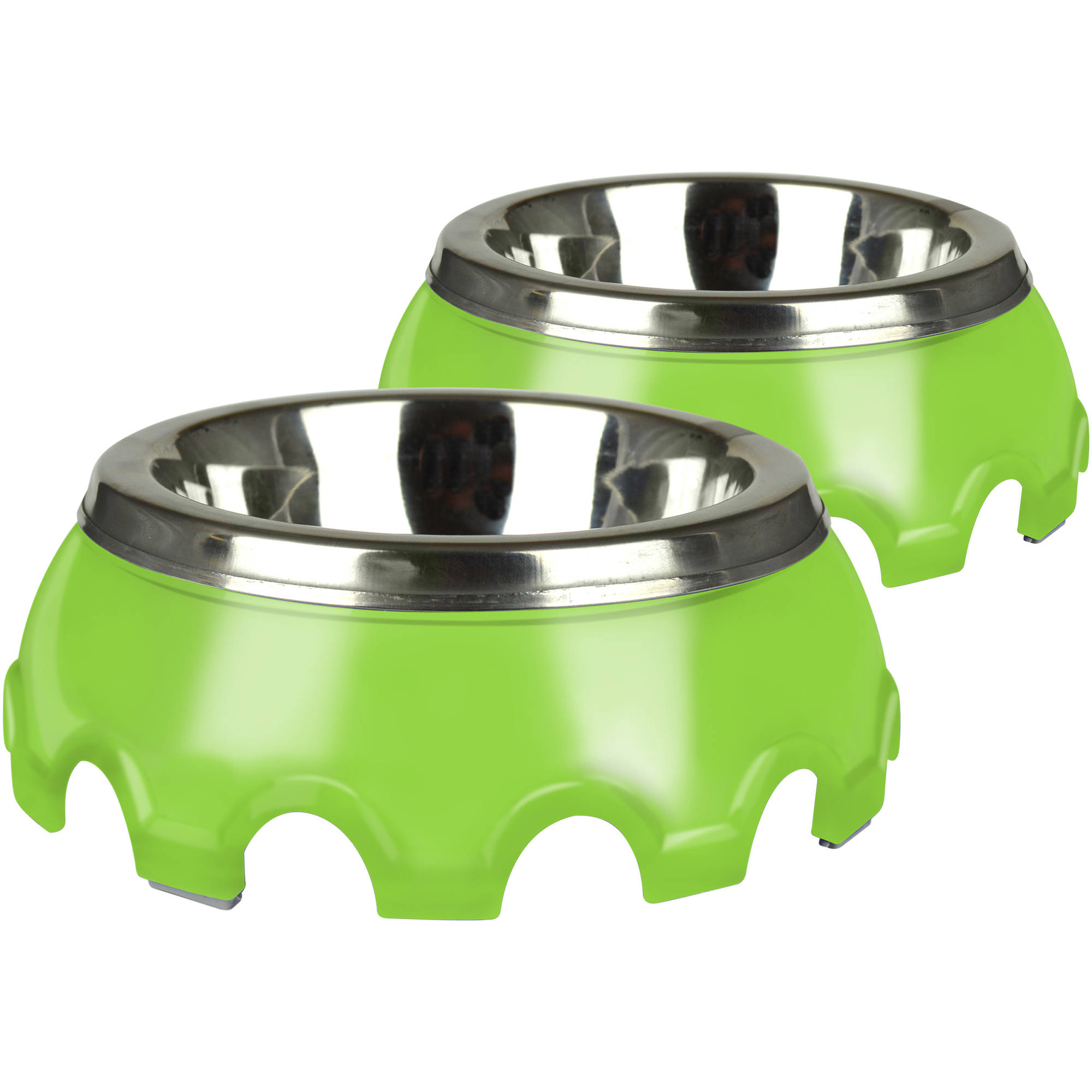 Pet Zone Festiva Pet Bowls, Small (1 Cup), Green, 2-Pack