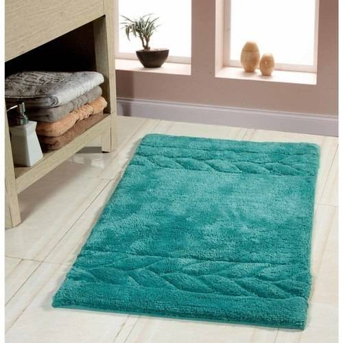 Saffron Fabs Bath Rug 2-Piece Set, Solid Color Cable Side Border, Assorted Colors and Sizes