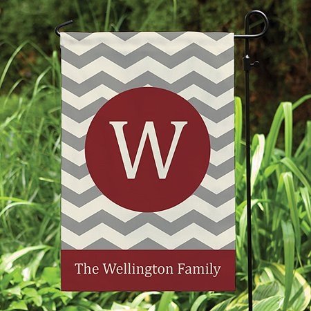 Personalized Garden Flag, Chevron Wine Family Name