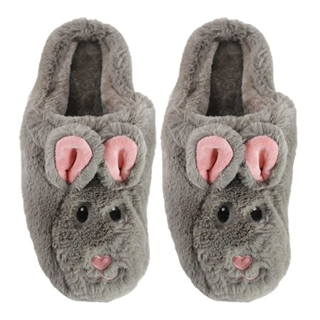 Women's Fluffy Slippers Cute Animals Bunny Hard Soles Indoors/ Outdoors Non-Slip Warm For Men/Women/Girls Bunny Brown XL By MinxNY