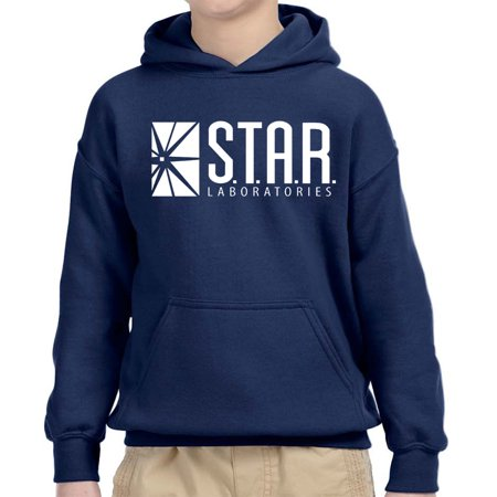 Trendy USA 859 - Youth Hoodie Star Laboratories Labs Comic Hero Unisex Pullover Sweatshirt Small Navy - Lamb Hoodie