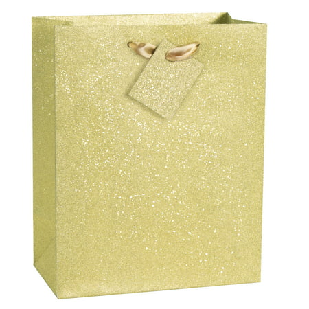 Glitter Gift Bag, 9 x 7 in, Gold, - Gold Gift Bags