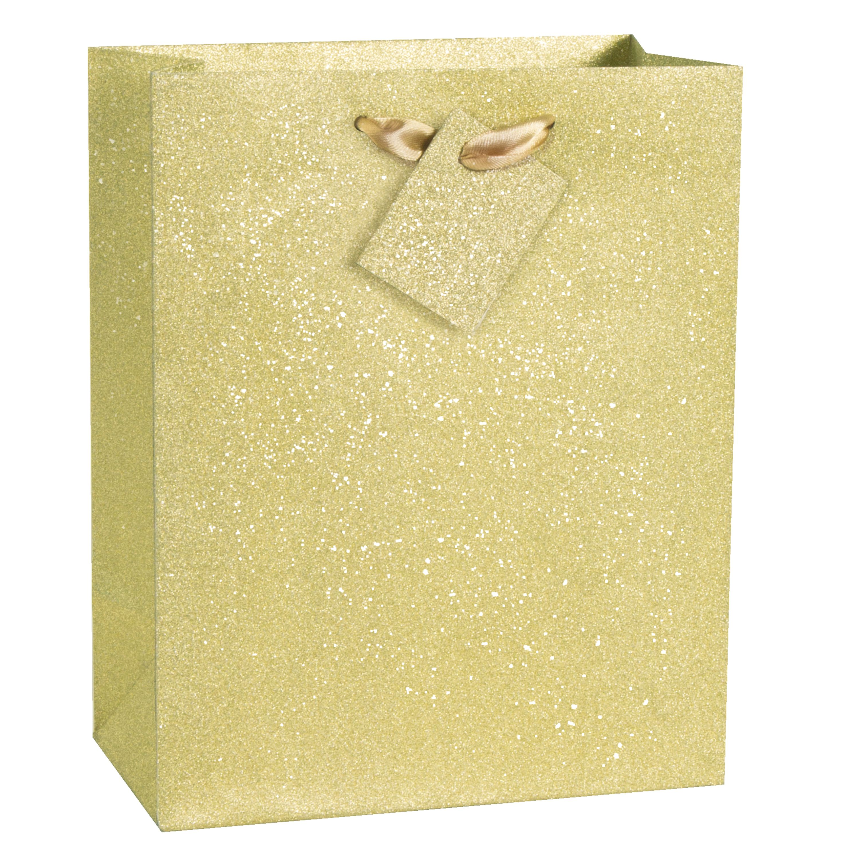 Glitter Gift Bag, 9 x 7 in, Gold, 1ct