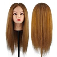 """Besmall 100% Human Hair Straight Hair Hairdressing Mannequin Manikin Training Practice Heads with Clamp Holder for Styling Cutting - Light Brown 26"""""""