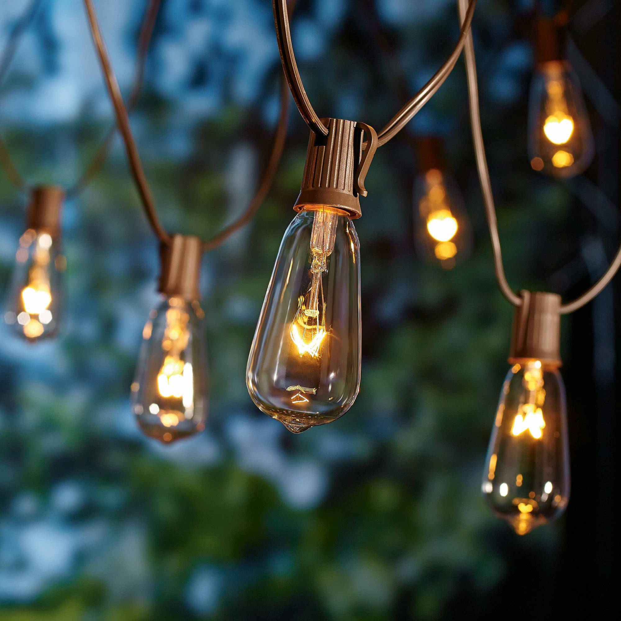 Count glass edison string lights indoor outdoor