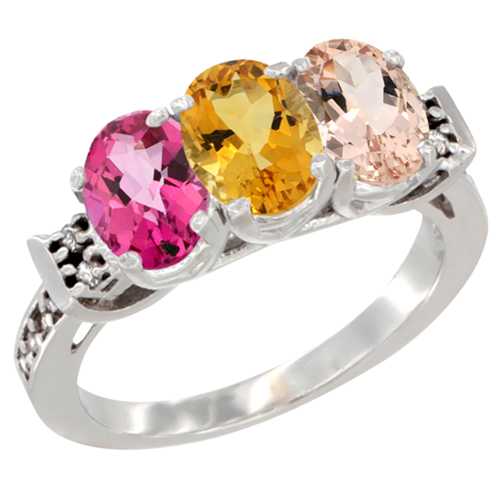 10K White Gold Natural Pink Topaz, Citrine & Morganite Ring 3-Stone Oval 7x5 mm Diamond Accent, sizes 5 10 by WorldJewels