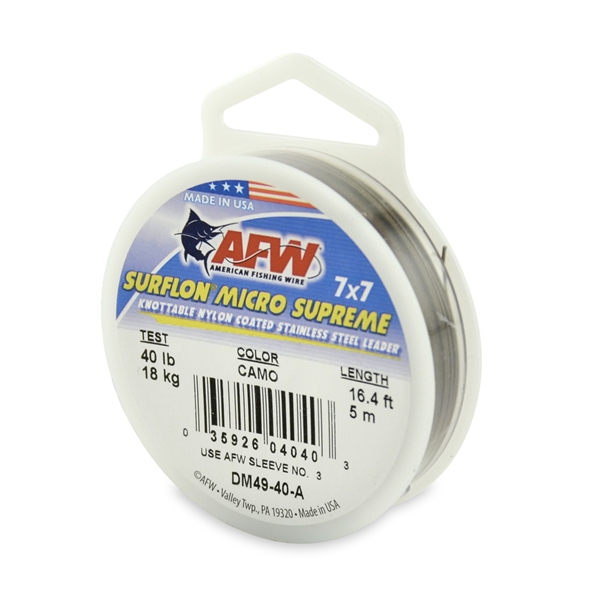 American Fishing Wire Surflon Micro Supreme Nylon Coated 7x7 Stainless Steel Leader Wire Multi-Colored