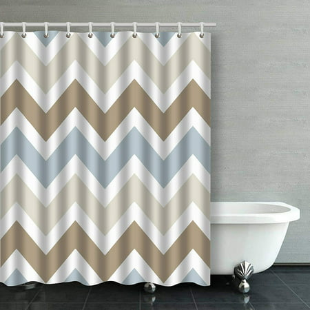WOPOP Smoky Blue Gray Tan Brown Chevron Pattern Bathroom Shower