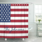 CYNLON Red White Patriotic Stars and Stripes Flag Blue USA Bathroom Decor Bath Shower Curtain 66x72 inch