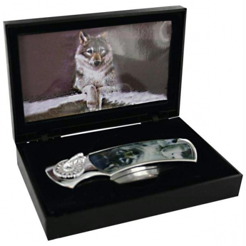 Maxam SKWLFBX Maxam Lockback Knife with Wolf Scene